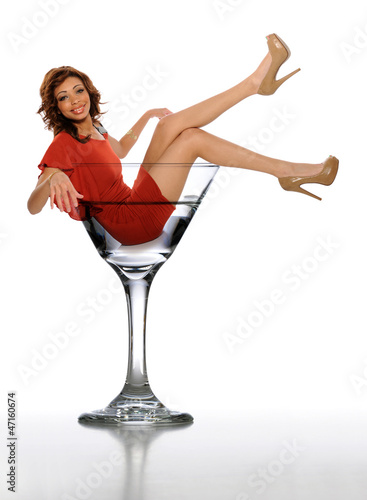 Young African American Woman in a Martini Glass