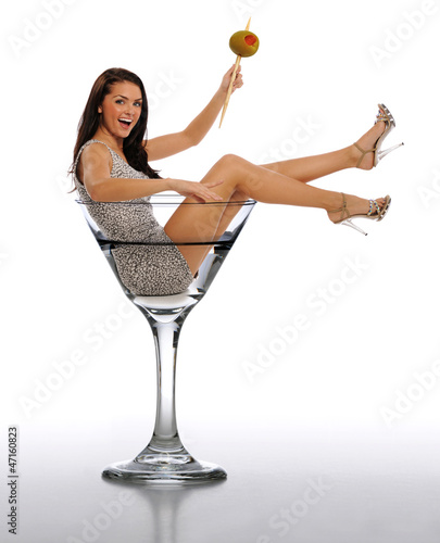 Young Brunette Woman in a Martini Glass