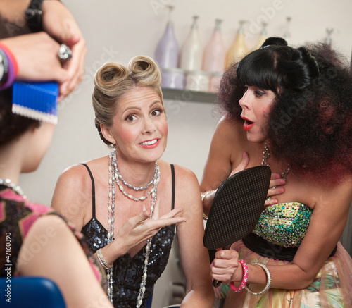 Relieved Lady and Friend in Hair Salon