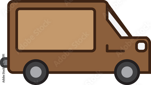 Isolated brown shipping truck with empty sign