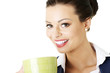 Smiling businesswoman having coffee break