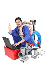 plumber, studio shot