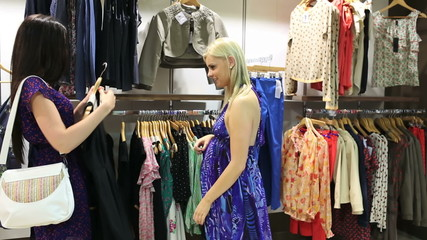 Women looking for clothes