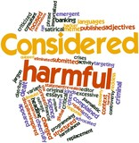 Word cloud for Considered harmful poster