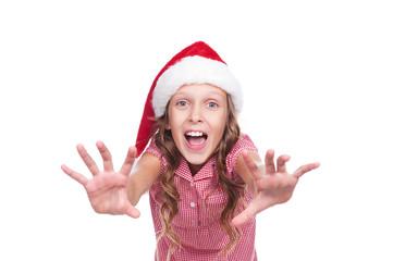 jovial girl in santa claus hat