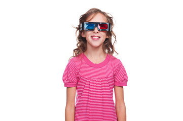 studio shot of smiley girl in 3d glasses