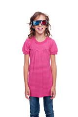 ten year girl in stereo glasses