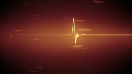Orange heart monitor line with moving background