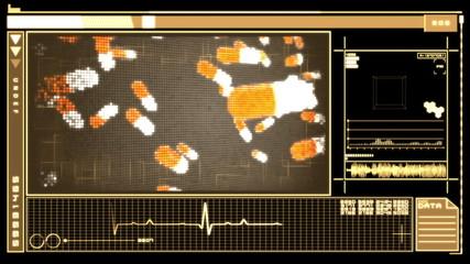 Digital interface showing pills falling