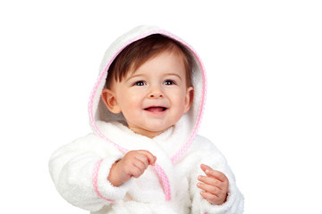 Happy baby with a bathrobe