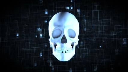 Revolving blue skull on moving digtial background