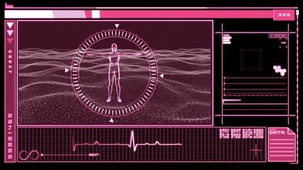 Digital interface featuring revolving figure of man