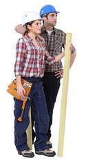 Portrait of two carpenters
