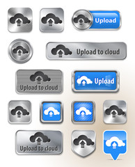 Collection of Upload to cloud metallic and glossy buttons