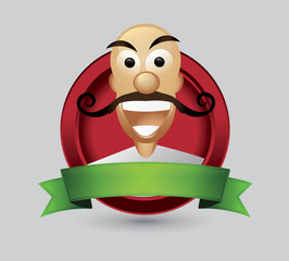 Bald man cartoon character wist mustache