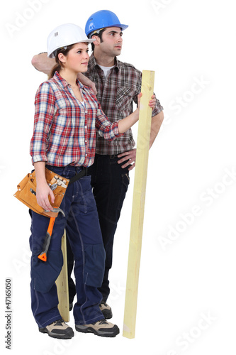 Portrait of two carpenters