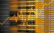 Tableau cours de bourse graphique jaune