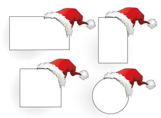 Weihnachtsetiketten Set mit Weihnachtsmützen