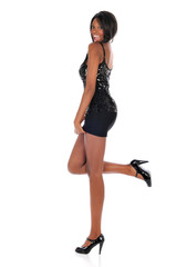 Young African American Woman Wearing a short dress