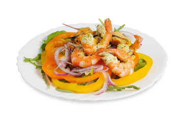 Salad with shrimp, mussels, bell pepper