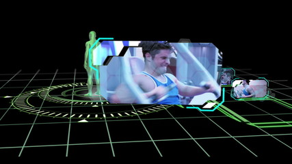 Interface with revolving human body showing various gym clips