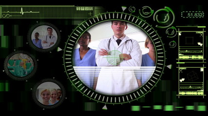 Hand selecting clips of various medical teams
