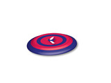 red and blue 3D frisbee with bird icon, vector with effect,