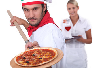 Pizzeria workers