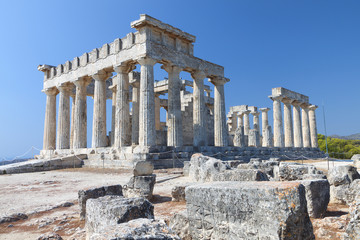 Temple of Aphaea Athina at Aegina island in Greece.