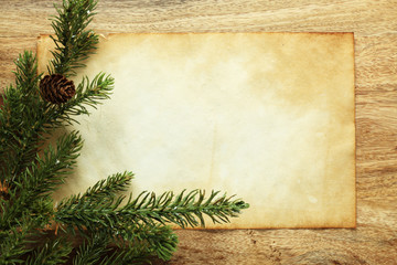 Blank paper with Christmas decorations