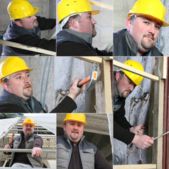 Montage of builder working on housing project