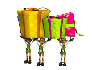 Elves Carrying Large Presents