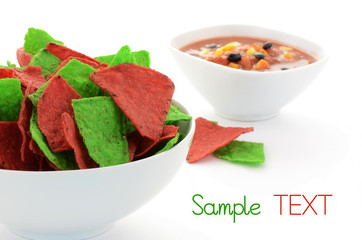Red and green tortilla chips