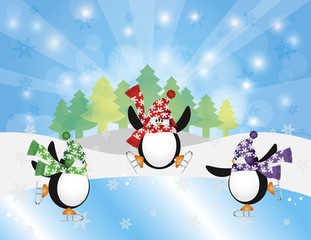 Three Penguins Ice Skating in Winter Scene Illustration