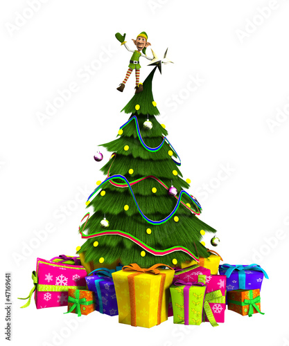 Elf On Christmas Tree