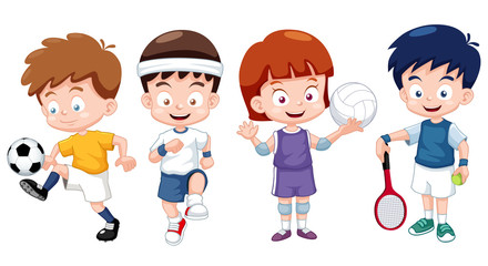 illustration of  Cartoon kids sports characters