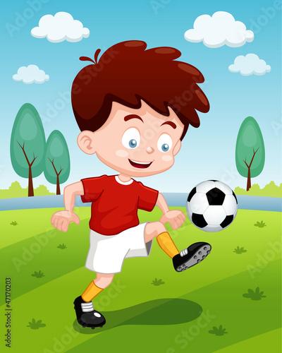 Vector: illustration of Cartoon boy playing soccer
