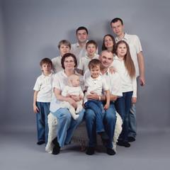 Large family portrait, studio