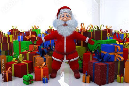 3d render of Santa Claus stands round the great number of gifts