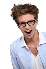 Geeky looking man with glasses
