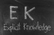 EK concept written on blackboard background high resolution