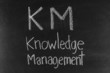 KM concept written on blackboard background high resolution