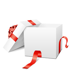Geschenk, Geschenkpaket, Paket, Box, Weiß, offen, 3D, Vektor
