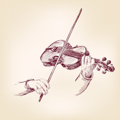 Violin hand drawn vector