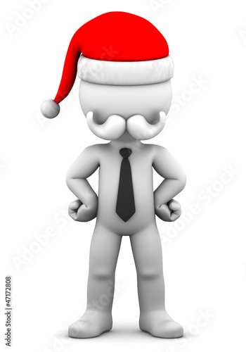 3d Businessman wearing tie and Santa Claus hat