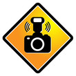 Camera flash sign, vector illustration