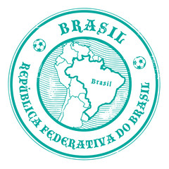 Stamp with the name and map of Brazil, vector illustration