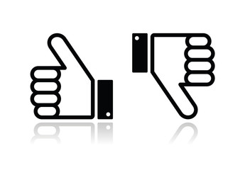 Thumb up and down black icon - social media