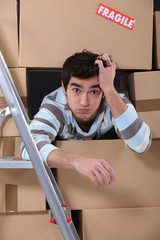 Surrounded by cardboard boxes