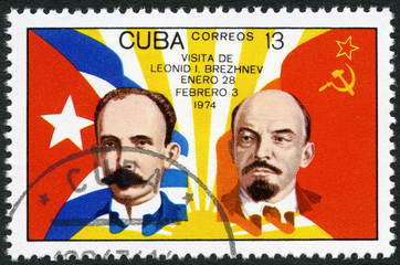 CUBA - 1974: shows Jose Marti, Vladimir Lenin, flags